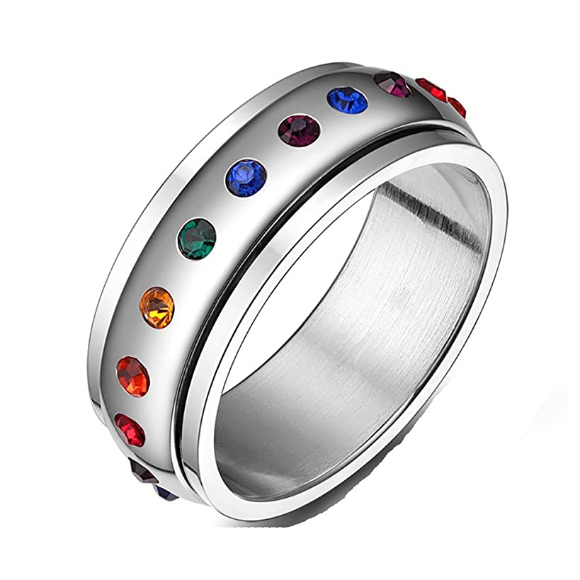 JAJAFOOK Jewelry Stainless Steel Cubic Zirconia Ring, Spins Rainbow Circle Band Ring, 8mm, Colorful