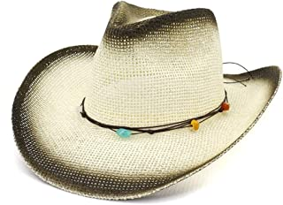 JAUROUXIYUJI New Summer Western Cowboy Hat Men Women Outdoor Seaside Sun Hat Protection Sunhat Color Woven Rope Beach Hat (Color : 3, Size : 56-58CM)