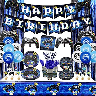 Video Game Party Supplies Set Birthday Decoration for Boys - Including HAPPY BIRTHDAY Gamer Banner, Controller Balloons, Fringe Curtains, Plates, Cups, Napkins, Tableware, Tablecloth, Balloons - Serves 20 from Hegbolke
