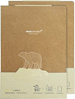 TRUEGRASSES Hardcover Notebook (A5), Flat Open, Straw + PP, Recycled Paper, Cream (off-white), 70gsm, 160 Sheets, Grid (Se...