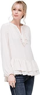 Pleione Layered Ruffle Hem Lace Trim Long Sleeve Blouse Top