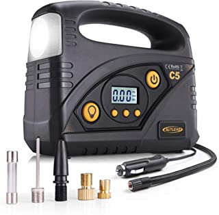 AUTLEAD C5 Digital Tire Inflator, 40L/min Portable Air Compressor Pump, 12V DC Auto Tire Pump with Pressure Gauge, LED Light, 4 Adaptors for Car, Bicycle, Motorbike and Others