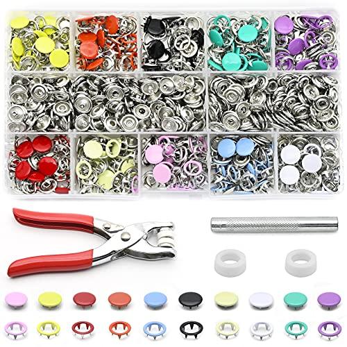 200 sets de Botones de Presión con Alicates de Fijación, Juego de Botones de Presión, Anillo de Metal, Botones de Presión para Ropa Infantil de Bebé, 9,5 mm, 10 colores