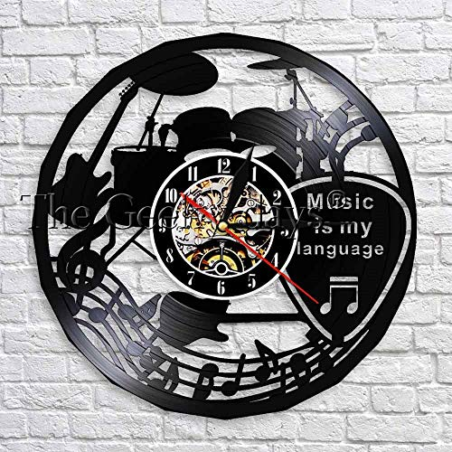 fdgdfgd De Pared de Disco de Vinilo de Reloj de diseño Moderno Reloj de Arte Negro de decoración de Tema de música de diseño Moderno con LED | Sorpresa Antes de Navidad