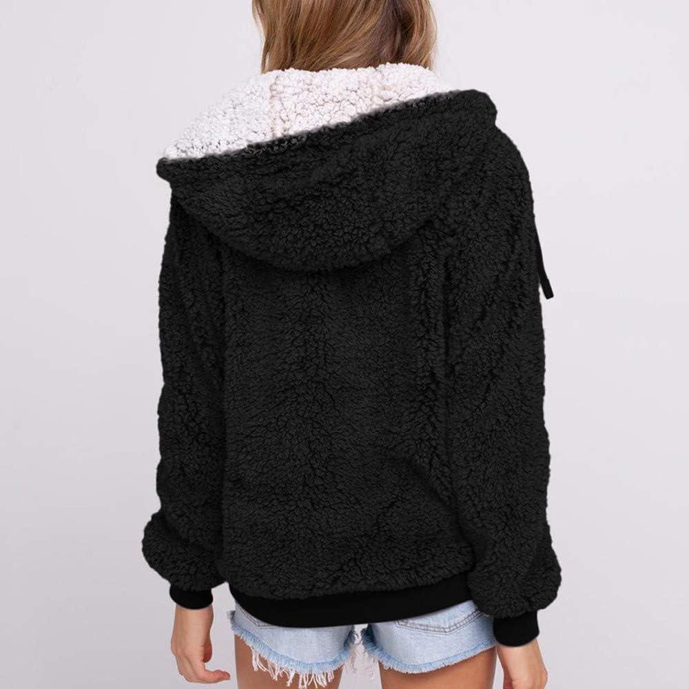 Women's Winter Fleece Coat Casual Fuzzy Faux Shearling Zipper Warm Winter Hooded Outwear Jacket