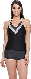 Clovia Women's Halter Neck Top & Mid Waist Boyshorts Swimsuit