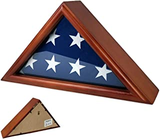 AtSKnSK 3'x5' Flag Display Case Box (Not for Burial Funeral Flag), Solid Wood