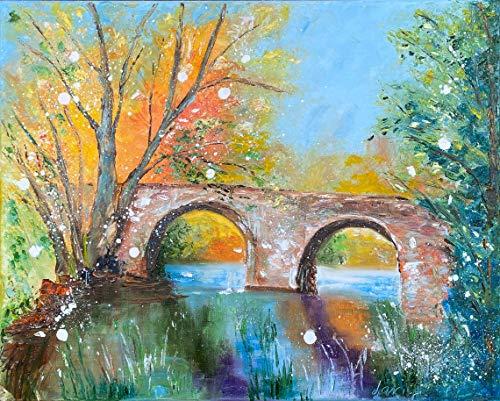 mlpnko DIY Pintar por números Puente Cuadro para Pintar por números de Adultos, Pintar por números, Pinturas al óleo por números