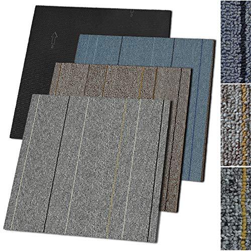 Teppichfliesen Baden | selbstliegend | Widerstandsfähig und pflegeleicht | Bodenbelag für Büro und Gewerbe | 50x50 cm | Streifen-Optik (Grau)