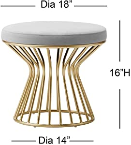 Modern Round Ottoman Footrest Stool - Luxurious Velvet Covered Seat w/Sturdy Gold Metal Base - No Assembly Required Accent Furniture Perfect for Use in Any Room - Gray Velvet Color