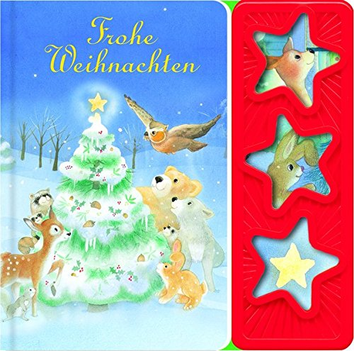 Frohe Weihnachen: wattiertes Kinderbuch, 3-Button-Soundbuch, Pappbilderbuch mit 3 Geräuschen