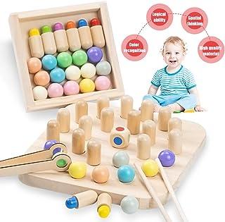 Zaloife Juegos de Mesa para Niños, Ajedrez de Madera Memoria, Juguetes Infantil Montessori, Wooden Memory Match Stick Chess, Juegos Educativos Familiar cognitivos de Color, Regalos Niños Niña (Color)