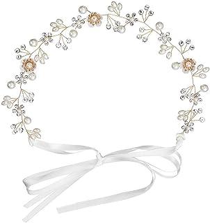 INTVN Diademas de Novia para el Pelo Rhinestone Cristal Perla Flor Tiara Joyería Accesorio del Pelo para Mujer Niña