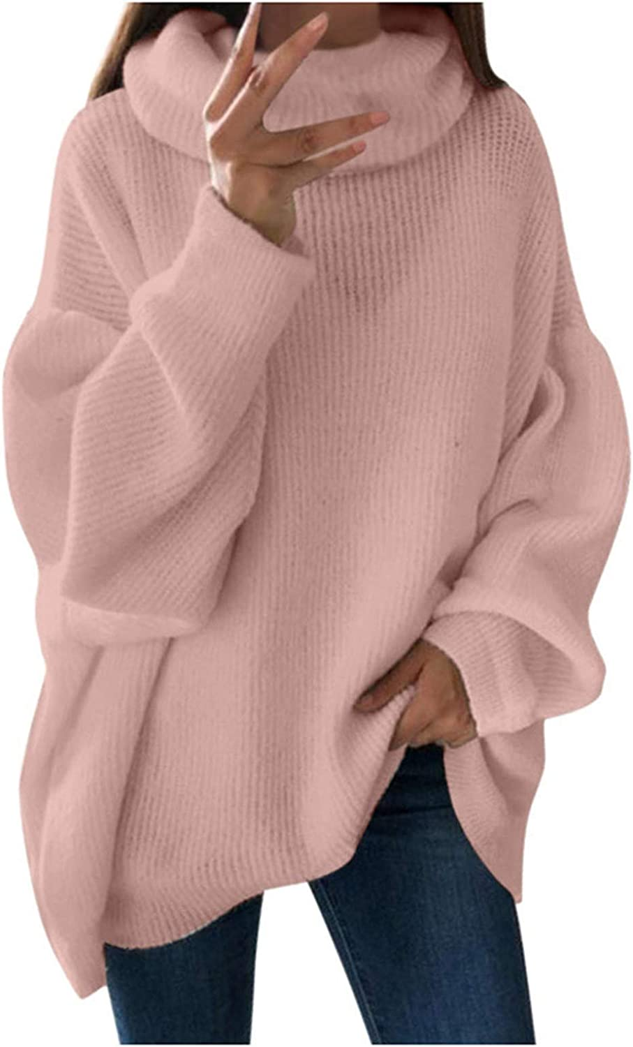 FABIURT Sweaters for Women, Womens Turtleneck Knit Sweater Pullover Long Sleeve Oversized Comfy Loose Jumper Blouse Tops