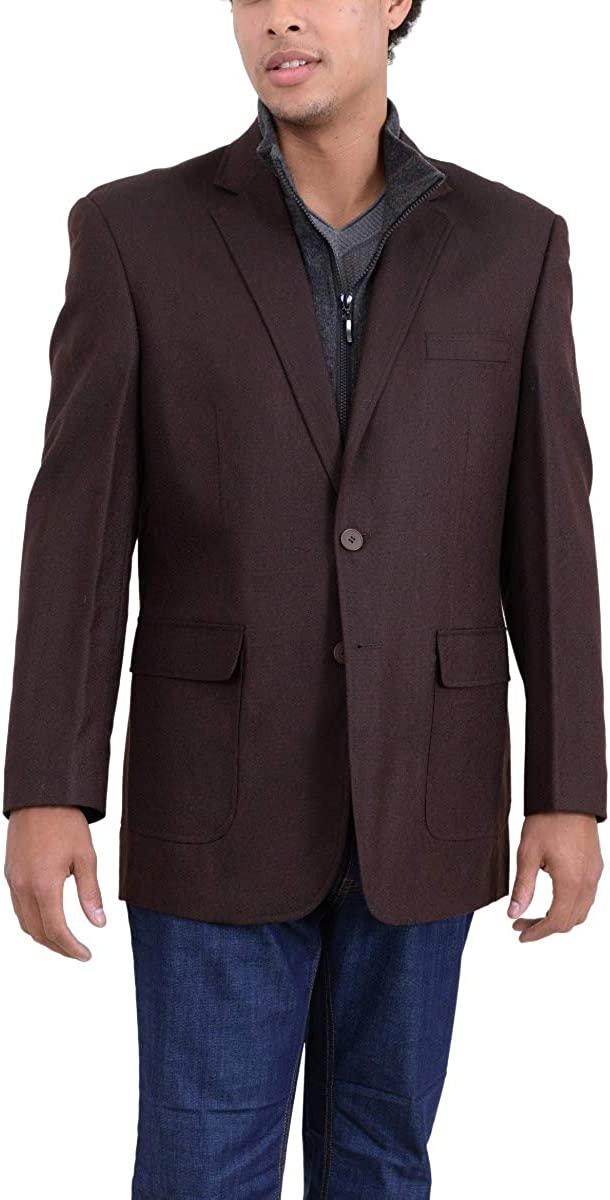 Apollo King Brown Textured Wool Blazer Sportcoat with Removable Mock Liner