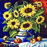zlhcich Blumenölgemälde Dekoration sonnenvase 40 * 50 (mit Rahmen)
