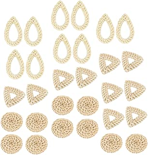 D DOLITY 15 pairs Natural Wicker Rattan Earring DIY Ornament Hand Rattan Weaving Bohemian Style for Women Girls (Triangle, Round, Water Drop)