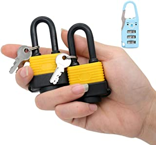 30mm Waterproof Padlock - Ideal for Home, Garden Shed, Outdoor, Garage, Gate Security (2 Pieces Set, Send a Small Password Lock)
