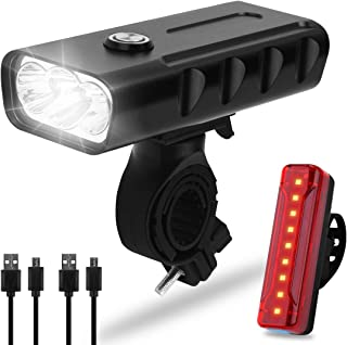 Osaloe Bike Light, Headlight-Taillight Combinations Dual Rechargeable Super Bright LED Bicycle Lights, 3 Modes 5200mAh Front Light 1200mAh Rear Light - Night Safety