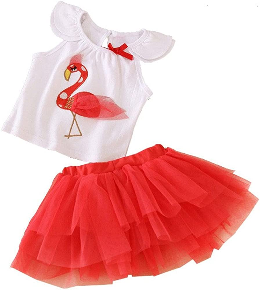 Mud Kingdom Baby Girl Clothes Sets Flamingo Tops and Skirt