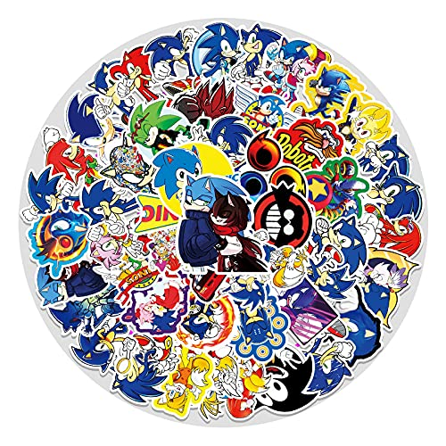 YZFCL Cartoon Anime Sonic Graffiti Sticker Laptop Luggage Scooter Car Waterproof Sticker 51Pcs