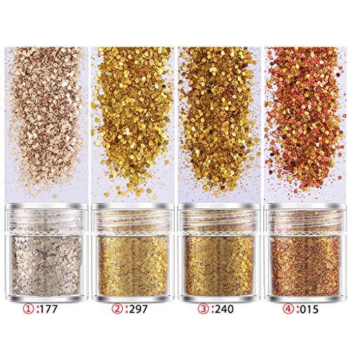 4 Flaschen Nail Art Pailletten Füllen Flash Glitter Pulver UV Epoxidharz Pigment Füllzubehör für Nägel Harz Schmuckherstellung