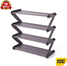 """Smart Saver 4-Tier Shoe Rack, Z-Type Shoes Storage Shelf, Entryway Shoe Organizer with 4 Tiers Metal Shelves and Dust Proof Fabric Cover,18.9"""" W x 7.48"""" D x 18.1"""" H - Grey"""