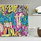 OPQRSTQ-O Cortina de baño Repelente al Agua,Creative Street Graffiti rústico en Wall Urban Street con Spray Hip Hop Art,Cortinas de baño de poliéster de diseño 3D con 12 Ganchos,tamaño 180 x 210cm