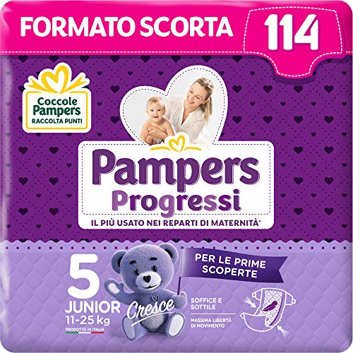 Pampers Progressi Junior, 114 Pannolini, Taglia 5 (11-25 Kg)