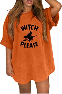 QiFei Halloween bovenstuk dames oversized blouse korte mouwen tops ronde hals demonenprint tuniek tops basic shirt herfst ...