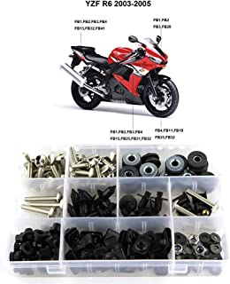 Xitomer Complete Fairing Bolts, for Yamaha YZF-R6 2003 2004 2005 YZF-R6S 2006 2007 2008 2009, Full Set Bodywork Screws/Fastenings/Mounting Kits (Silver)