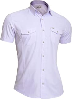 D&R Fashion Mondo Mens Summer Shirt Short Sleeve 100% Cotton Lilac Slim Metal Badge Poppers