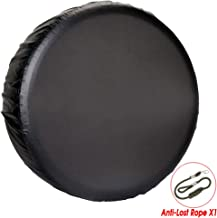 """YANKING Spare Tire Cover, Universal Fit for Jeep, Trailer, RV, SUV, Truck,Black Waterproof Soft PVC Tire Covers with Anti-Lost Rope (16-17 inch for Diameter 29""""-33"""")"""