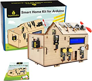 KEYESTUDIO IOT Starter Kit for Arduino R3, Electronics Coding Home Automation Kit DIY for Internet of Things, Wooden House...