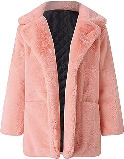 Women's Winter Faux Fur Solid Color Overcoat Warm Outwear Long Sleeve Jacket Cardigan with Pocket