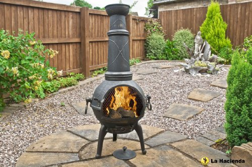 BRONZE SIERRA 125CM HIGH CAST IRON CHIMINEA CHIMENEA CHIMNEA WITH BBQ GRILL