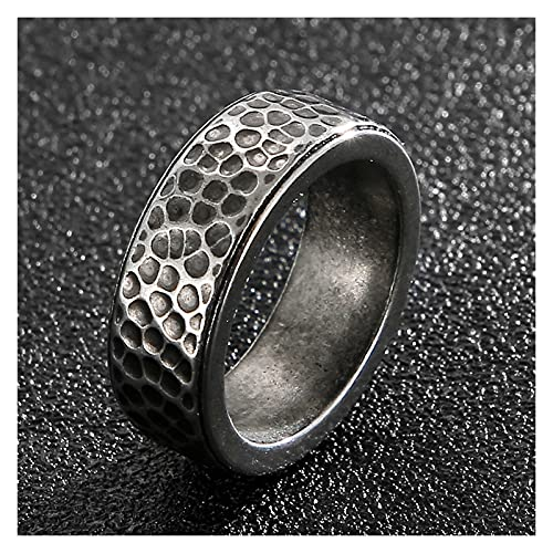 Anillos plateados para hombre Vintage 8mm anillos de acero inoxidable de titanio para hombres Ring de hilera de hombre regalos masculinos para hombre para hombres dedos accesorios para banda de boda T