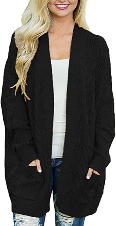 Women'S Knitwear Long Split Cardigan Open Front Jacket Warm Classic Long Sleeve Sweater With Pockets