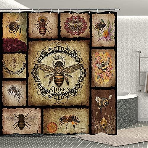 Bienen Duschvorhang Farm Honigbienen Blumen Duschvorhang mit Haken Vintage Badvorhang-Set Badezimmer Dekor 177 x 177 cm