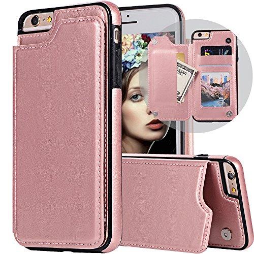 iPhone 6S Plus Wallet Case,iPhone 6 Plus Flip Case for Women/Men,iPhone 6s Plus Purse Case,Auker Vintage Leather Folio Flop Secure Fit Magnetic Closure Folding Case with Wallet/Card Holder Rosegold