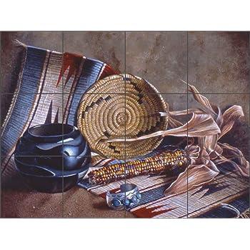Ceramic Tile Mural 17 x 25.5 Kitchen Shower Backsplash King of the Barnyard by Phyllis Neufeld