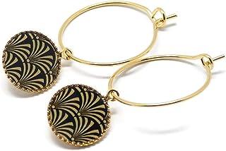 Mini orecchini cerchio albero ginkgo Giappone oro nero ottone dorato oro fino 24 carati resina regali regalo di natale ami...