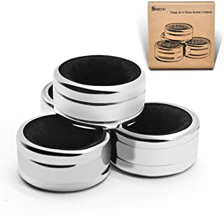 Sunnyac Pack of 4 Kitchen Stainless Steel Wine Bottle Collars, Durable and Plated Wine Drip Ring,1.6 inch (Black wave)