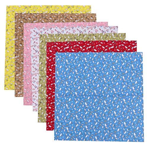 Kesyoo - Lote de 7 piezas de tela para patchwork, algodón, para costura, manualidades, 50 cm, algodón, Varios colores 2., 50×50cm
