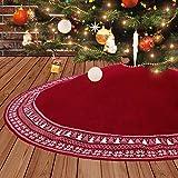 Dremisland Gonna Grande Albero di Natale, 122 cm Gonna Albero di Natale Spessa Pesante Filato Lavorata a Maglia Tappetino per albero di Natale Coperta Ornamenti Natalizi Decorazione (Rosso, 90cm)