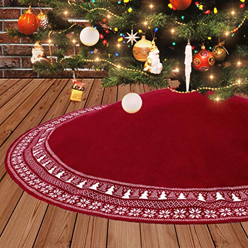 Dremisland Jupe Sapin de Noël, 122cm Jupe d'arbre Tricotée de Noël avec Flocon de Neig d'arbre de Noël de épais Décorations de Vacances Rustiques Tapis Couvre Pied Sapin Jupe d'arbre