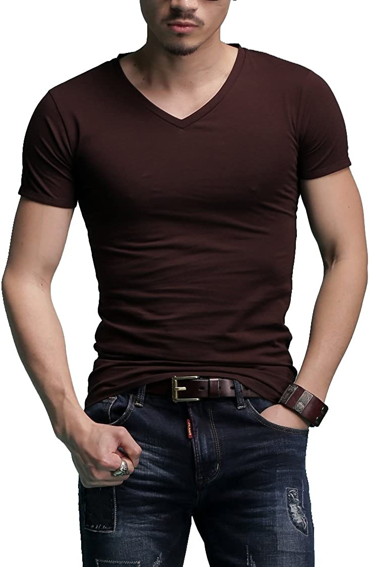 Men's Tagless Slim Inventory cleanup selling sale Limited time trial price Fit Top Muscle Short S Cotton V-Neck Crewneck