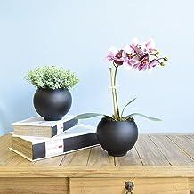 Flor Artificial Arranjo de Orquídea Lilás 3D no Vaso de Vidro Preto Fosco   Formosinha