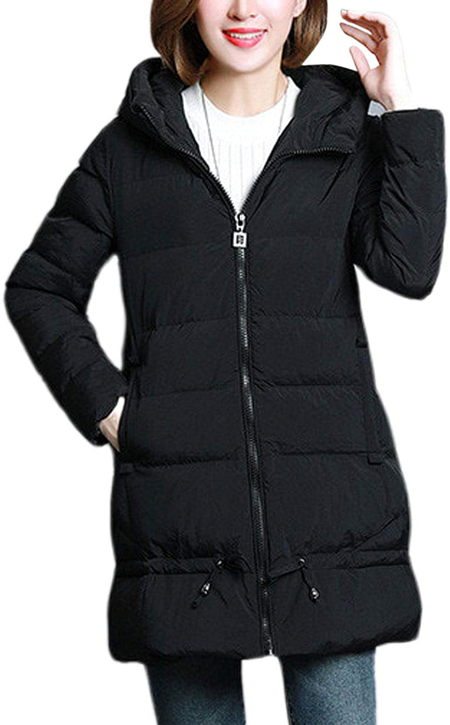 Lentta Women's Casual Loose Thick Hoodie Zipper Up Quilted Padded Mid Long Parkas