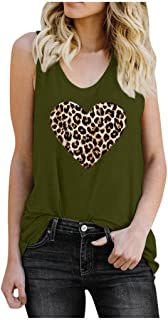 HJuyYuah Women Sleeveless Shirt Leopard Heart Print Blouse Casual Loose Pullover Vest Soft Comfortable Tank Tops